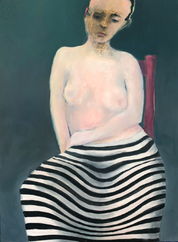 Woman In Striped Skirt